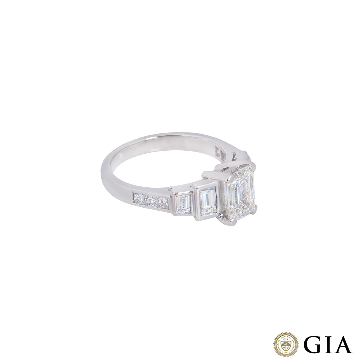 Platinum Emerald Cut Diamond Ring 1.52ct J/VS1
